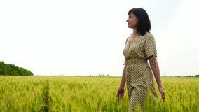 El aspecto caucásico de la muchacha está en el campo del trigo no maduro, mirando alrededor metrajes
