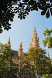 El aspecto original ayuntamiento entre árboles, Aus Viena Imagen de archivo libre de regalías