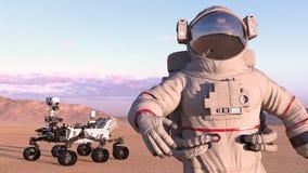 El astronauta con estropea al vagabundo, cosmonauta al lado del vehículo autónomo en un planeta abandonado, cierre del espacio ro ilustración del vector