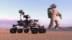 El astronauta con estropea al vagabundo, cosmonauta que flota al lado del vehículo autónomo en un planeta abandonado, 3D del espa libre illustration