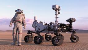 El astronauta con estropea al vagabundo, cosmonauta que se coloca al lado del vehículo autónomo en un planeta abandonado, 3D del  stock de ilustración