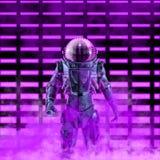 El astronauta de neón oscuro stock de ilustración