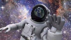 El astronauta en espacio exterior metrajes