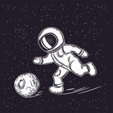 El astronauta juega a fútbol Ejemplo del vector de espacio Espacio exterior stock de ilustración