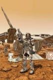 El astronauta militar encendido estropea el puesto avanzado ilustración del vector