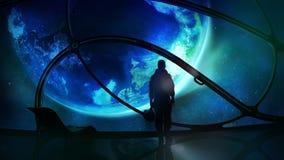 El astronauta mira el globo libre illustration