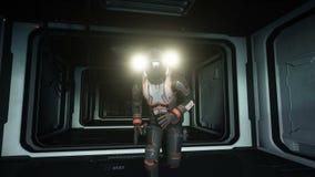 El astronauta salta en espacio vista de la tierra Gravedad cero cantidad cinemática 4k