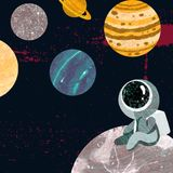 El astronauta se sienta en la luna y las miradas en los planetas ilustración del vector