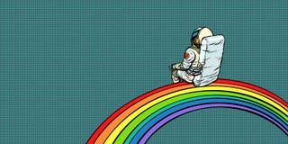 El astronauta se sienta en un arco iris