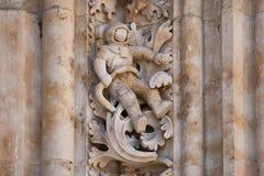 El astronauta talló en piedra en la fachada de la catedral de Salamanca Fotografía de archivo libre de regalías
