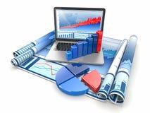 El asunto analiza. Computadora portátil, gráfico y diagrama. libre illustration