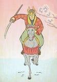 El atacar del caballo de montar a caballo del guerrero del samurai Fotografía de archivo
