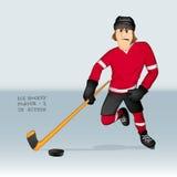 El atacar del jugador del hockey sobre hielo Imagen de archivo libre de regalías