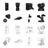 , el atasco, la dieta, los accesorios y el otro icono del web en el negro, estilo del esquema cocinero, equipo, dispositivo, icon Imágenes de archivo libres de regalías