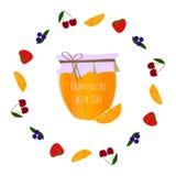 El atasco-tarro anaranjado en frutas circunda, elemento para el diseño fotos de archivo