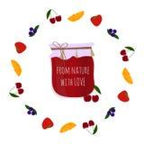 El atasco-tarro de la cereza en frutas circunda, elemento para el diseño fotografía de archivo libre de regalías