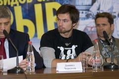 Daniel Cherkasov en la prensa-conferencia, dedicada al festival de clases extremas de deportes   Foto de archivo libre de regalías