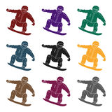 El atleta con la chaqueta azul y los pantalones rojos en una snowboard Snowboarder en los actives el active se divierte el solo i Imagen de archivo