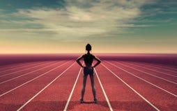 El atleta en la pista ilustración del vector