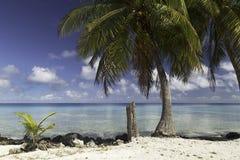 El atolón y la laguna de Rangiroa cerca del tiputa pasan - Polinesia francesa foto de archivo libre de regalías