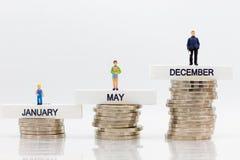 El aumento en la cantidad cada mes Uso para los ahorros que resultan del trabajo, uso de la imagen del dinero en el futuro imagen de archivo