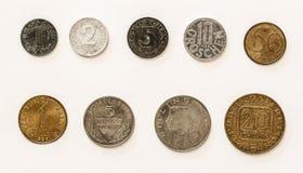 El austriaco acuña el Groschen 1-2-5-10-20-50/el chelín Fotos de archivo libres de regalías