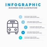 El auto, autobús, entrega, logístico, línea de transporte icono con el fondo del infographics de la presentación de 5 pasos libre illustration