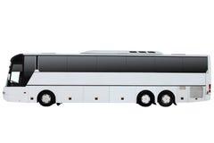 El autobús blanco de la excursión aislado en un fondo blanco imagen de archivo libre de regalías