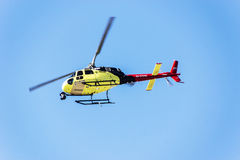 El autodrom de Sochi, televisión del helicóptero era difusión viva Foto de archivo libre de regalías