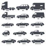 El automóvil del coche mecanografía los iconos negros del vector aislados en blanco ilustración del vector