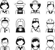 El avatar del empleo de la gente fijó en estilo plano fino Imágenes de archivo libres de regalías