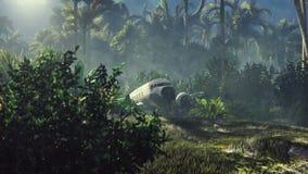 El avión arruinado miente en la selva en el medio de las palmeras y de la vegetación tropical libre illustration