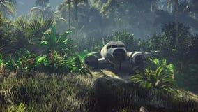 El avión arruinado miente en la selva en el medio de las palmeras y de la vegetación tropical stock de ilustración