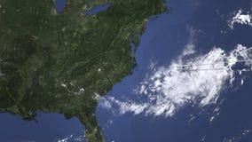 El avión comercial llega a Charlotte, Estados Unidos, animación 3D ilustración del vector