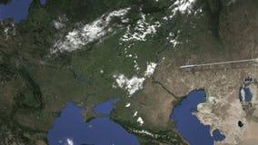 El avión comercial llega a Járkov, Ucrania, animación 3D ilustración del vector
