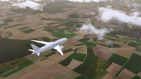 El avión de pasajeros de Brandless vuela sobre los suburbios 4K almacen de video