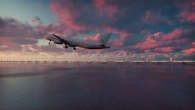 El avión de pasajeros saca en el fondo de la puesta del sol en la cámara lenta stock de ilustración