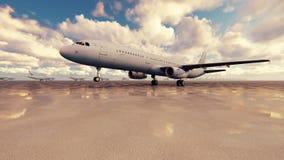 El avión de pasajeros saca en un día soleado contra el fondo en la cámara lenta metrajes