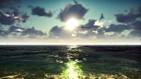 El avión de pasajeros vuela sobre el océano en la salida del sol Fondo colocado verano hermoso stock de ilustración