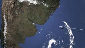 El avión llega a Buenos Aires, la Argentina del este, animación 3D ilustración del vector