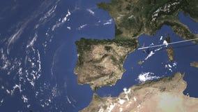 El avión llega a Oporto, Portugal del este, animación 3D libre illustration