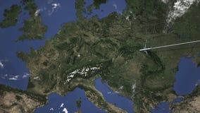 El avión llega a Stuttgart, Alemania del este, animación 3D libre illustration