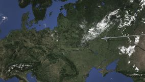 El avión llega a Varsovia, Polonia del este, animación 3D stock de ilustración