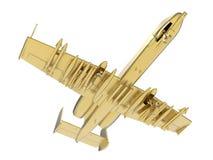 El avión militar de oro realiza una maniobra stock de ilustración