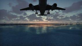El avión saca en el fondo de la puesta del sol en la cámara lenta ilustración del vector