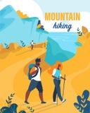 El aviador brillante se escribe la montaña que camina la historieta stock de ilustración