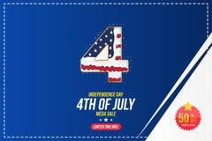 El aviador celebra feliz el 4 de julio - D?a de la Independencia Venta mega con la etiqueta engomada 50 apagado Evento americano  ilustración del vector
