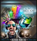 El aviador del disco del club fijó con DJs y los fondos coloridos stock de ilustración