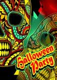 El aviador en el partido de Halloween con adorna el ornamento pintado cráneo Imágenes de archivo libres de regalías