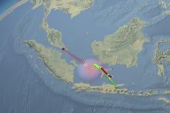 El avión de Air Asia de la ruta de la trayectoria desapareció Fotos de archivo